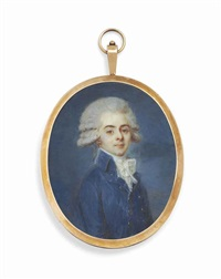 a boy, in double-breasted blue coat with silver buttons, white lace cravat, powdered hair by louis-andré fabre