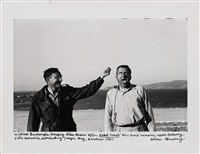 william burroughs hanging alan ansen after naked lunch blue movie scenario, upper balcony villa mouneria overlooking tanger bay, marocco by allen ginsberg