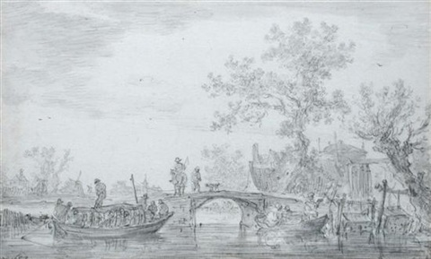 a river scene a ferry boat with passengers to the left a rider on a bridge houses behind trees on the right by jan josefsz van goyen