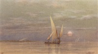 feluccas on the nile at dusk by william ashton