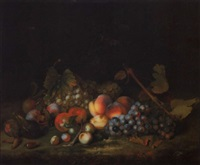 stilleben mit weintrauben, pfirsichen, pflaumen und feigen by william smith