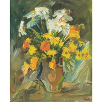 white and yellow daisies (+ mixed daisies; 2 works) by maria wawrzonek