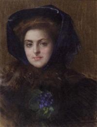 portrait of a lady wearing a fur stole and blue bonnet by francois-maurice lard