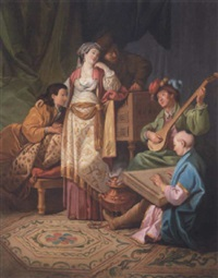 musical concert, with figures in oriental dress by antoine renou