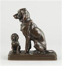 chien de chasse et son petit by alfred jacquemart