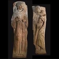 saint francis (+ saint clare, smllr; pair) by giovanni de fondulis