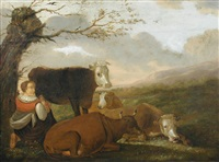 cattle with cowherds on a river bank; and a milkmaid milking a cow (pair) by wh alexandre