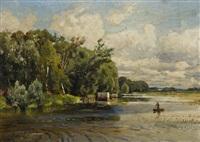 river landscape by konstantin egorovich makovsky