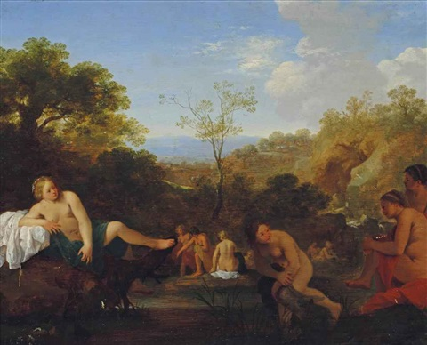 diana surprised at her bath by cornelis van poelenburgh