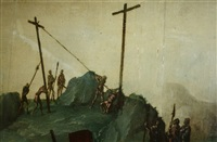 de heilige veronica en christus op de weg naar de calvarieberg olieverf op paneel by flemish school
