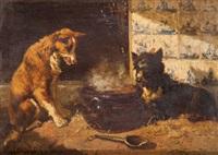 deux chiens près d'une marmite devant un mur de carreaux de delft by vincent de vos