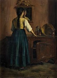 jeune fille dans un intérieur provençal by marius barthalot