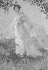 a lady standing in the breeze by louis loeb