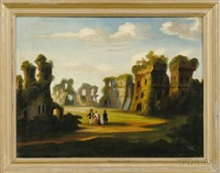 figures in a fantasy of ruins by thomas chambers