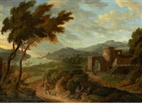 travellers on a country path, a river landscape beyond by hendrick frans van lint