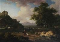 meditarranean landscape with goatherd by augustus van den steene