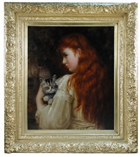 portrait of a red-haired girl, said to be miss dorothy twemlow, holding a tabby kitten by mary hariett earnshaw