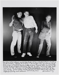 poet john giorno (stomach scarred from decade-old cancer operation) & bill's secretary jim grauerholz aghast at william s. burroughs whip-fast flexible black-jack draw-watch out bowery mugger .... by allen ginsberg