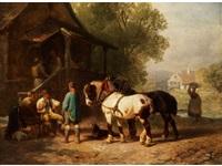 pferdeführer mit zwei kaltblütern im gespräch mit bauern vor einem haus mit treppenbalkon by philipp arons