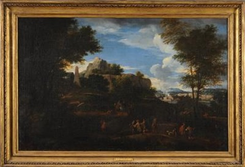 a mountainous landscape with travellers in the foreground grecian temple beyond and a distant view to a river and town by johannes lingelbach
