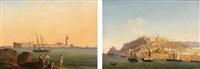 vues présumées de candie en crête: le port sommé de la forteresse et le lazaret (pair) by andré raulin