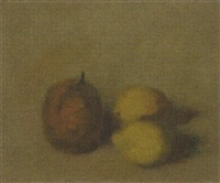 a still life with a pear and two lemons by theo swagemakers