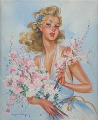 jeune fille fleurie by eugene lelievre