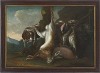 jagdstillleben mit erlegtem hasen und vögeln by leopold axtmann