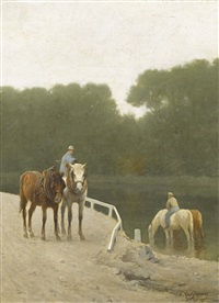 pferde und reiter am ufer by wouter verschuur the younger