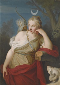 diana, goddess of the hunt, leaning against a tree by pietro antonio rotari