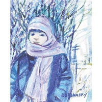child on winter stroll by rita briansky