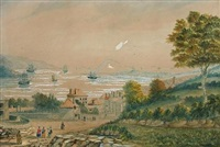 view of dartmouth and the naval college with sailing ships in harbour (+ another; pair) by j. dunn