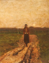 woman walking down a country lane at sunset and portrait of a woman in profile : a double-sided work by george f. fuller