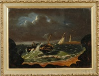 shipwreck off a rocky coast with distant lighthouse by thomas chambers