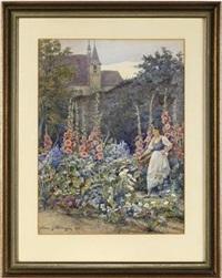 mädchen im blumengarten im hintergrund eine klosteranlage by hans götzinger