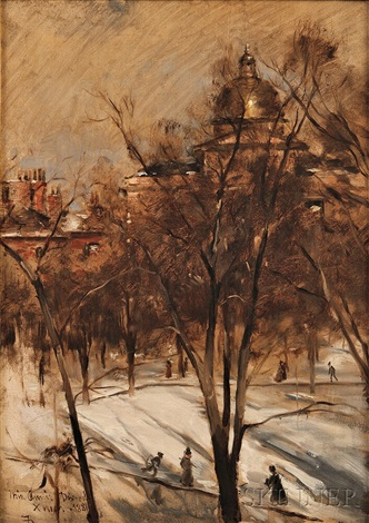 boston common in winter by frank duveneck