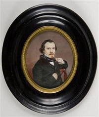 retrato de pelegrin clavé sentado, su brazo izquierdo apoyado en el respaldo de una silla by antonio tomasichs y haro