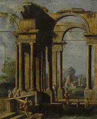 ruinencapriccio mit figurenstaffage by francesco battaglioli