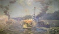 battleships engaged in battle, the