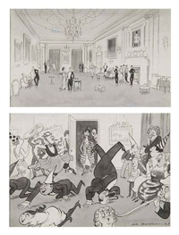 christmas! how some celebrate it... and others (2 works in 1 frame) by henry mayo bateman