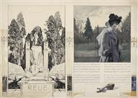 reue. trauernde dame vor einem gartentor (+ sitzende statue einer reuigen frau, pen & ink w/bodycolor; 2 illus. mntd together) by gottlieb theodor von hartenkampf kempf