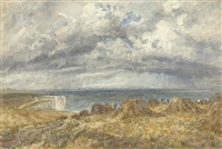 figures outside a cottage (+ harvest time on the cliffs above the bristol channel; 2 works) by james price