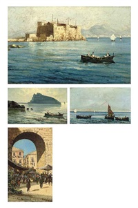 fishermen before ischia( + 3 others; set of 4) by fernando del basso