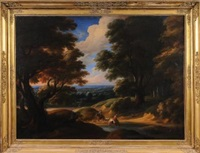 an upland wooded landscape, horsemen and dogs resting by a stream in the foreground, extensive vista beyond by lodewijk de vadder