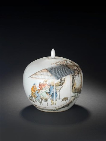 domestic scene covered jar by liu xiren