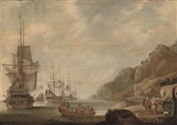 the dutch fleet lying off a rocky shore with an officer being rowed out by jacob knyff