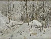 vinterlandskap med kråkor by gunnar aberg