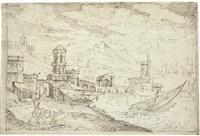 a coastal town with ships setting sail by kerstiaen de keuninck
