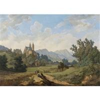 sommerlandschaft mit prozession und gotischer kirche by friedrich wachsmann