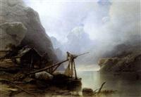fjord met vissers by jacob jacobs